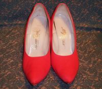 Vintage Red Satin High Heel Pumps
