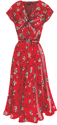 J peterman red 1940s dress
