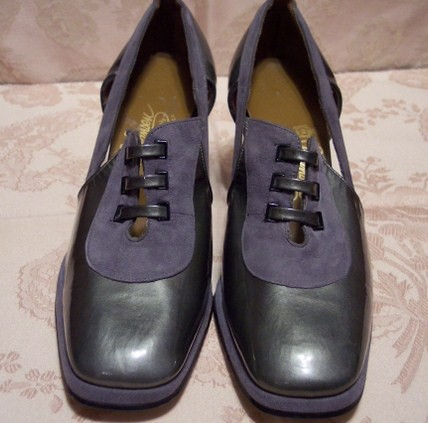 Sh 115 Johansen grey patent leather & suede shoe (4)