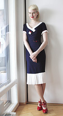 Piksi navy dress red shoes