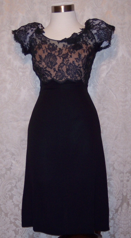 Peggy Hunt Illusion Neckline Black Lace Couture Dress