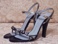 Sh118 Charles Jourdan Paris Silver & Black Strappy Sandals (3)