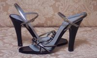 Sh118 Charles Jourdan Paris Silver & Black Strappy Sandals (4)