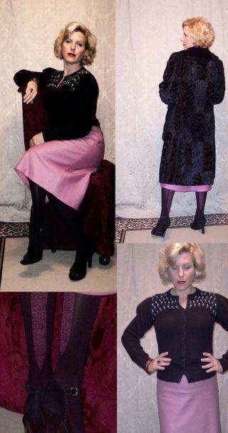 Black vintage cardigan pink wide seam tights