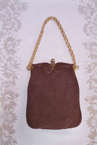 """Triangle"" vintage brown sued bag chanel-esque gold link chain The Red Velvet Shoe"