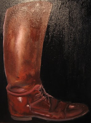 Riding boot oil painting by Hollister Hovey