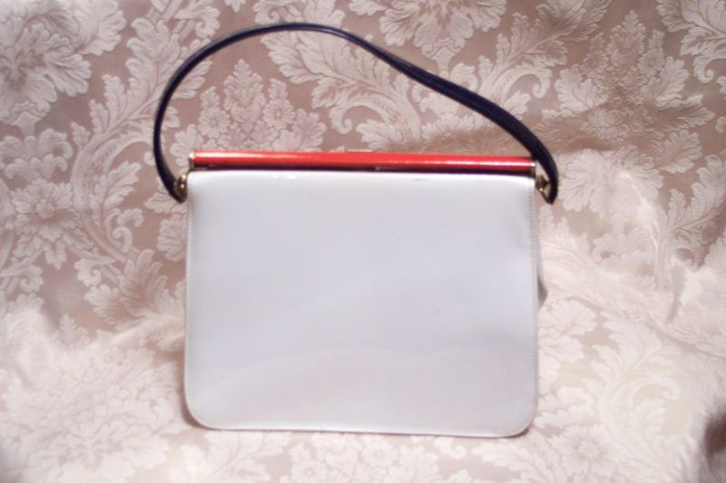 Vintage Mar Shel red white & blue patent leather purse (4)