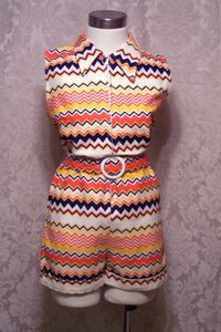 Vintage 1950s rainbow red,white,blue & yellow striped zip front romper_320x480