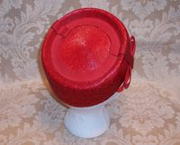 Vintage red straw pillbox hat (6)_742x600