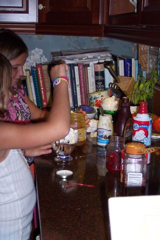 Making sundaes after Mommy's asleep