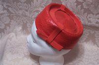 Vintage red straw pillbox hat