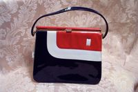 Vintage Mar Shel red white & blue patent leather purse