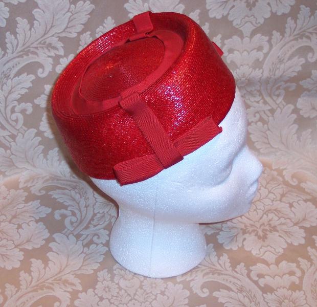 Vintage red straw pillbox hat_620x600