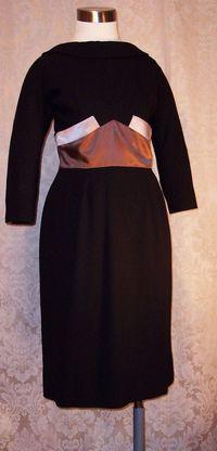 1950s Black Wiggle Dress Silk Satin Bow Detail from C. Crawford Hollidge of Boston  (3)
