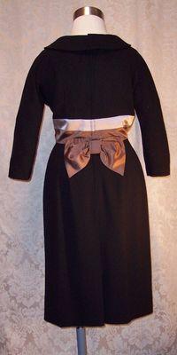 1950s Black Wiggle Dress Silk Satin Bow Detail from C. Crawford Hollidge of Boston  (5)