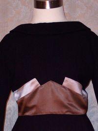 1950s Black Wiggle Dress Silk Satin Bow Detail from C. Crawford Hollidge of Boston  (9)