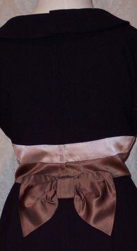 1950s Black Wiggle Dress Silk Satin Bow Detail from C. Crawford Hollidge of Boston  (10)