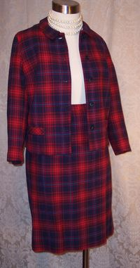 Vintage Prestige red wool plaid suit (7)