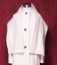 Vintage Pauline Trigere winter white coat & scarf ensemble (5) - Copy
