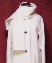 Vintage Pauline Trigere winter white coat & scarf ensemble (11)