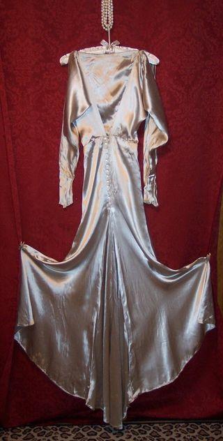 Art Deco 1930s satin evening gown WMCA rhinestone buckle (6)