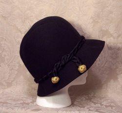 1930s Black Wool Cloche Henry Pollack Glenover vintage (3)