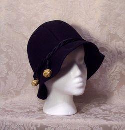 1930s Black Wool Cloche Henry Pollack Glenover vintage (4)