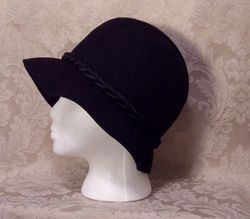 1930s Black Wool Cloche Henry Pollack Glenover vintage (5)