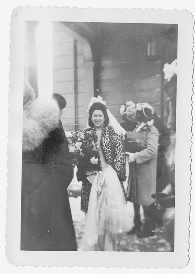 1940s winter bride leopard fur coat