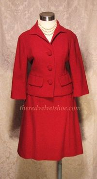 Sybill Connolly 1960s Vintage Couture Red Wool Suit  (4)