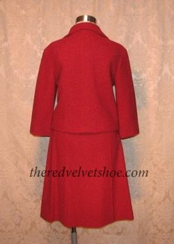 Sybill Connolly 1960s Vintage Couture Red Wool Suit  (6)
