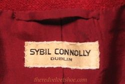 Sybill Connolly 1960s Vintage Couture Red Wool Suit label .JPG