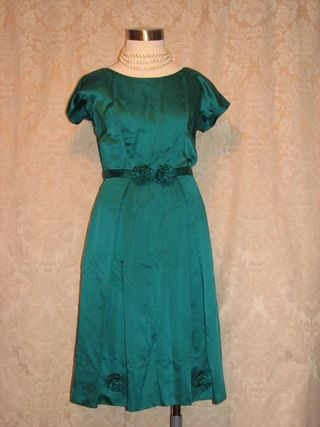 Vintage teal green silk satin dress flower detail