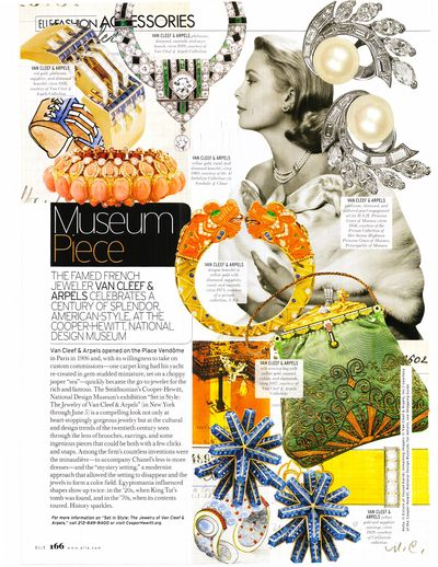 Elle April 2011 p. 166 The Smithsonian's Cooper-Hewitt National Design Museum Exhibition Set in Style-The Jewelry of Van Cleef & Arpels