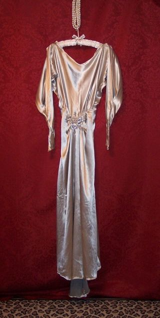 Art Deco 1930s satin evening gown WMCA rhinestone buckle (2)