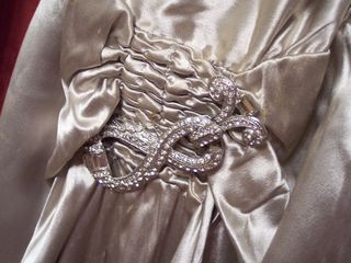 Art Deco 1930s satin evening gown WMCA rhinestone buckle (3)