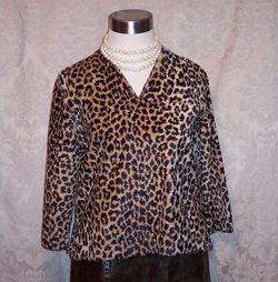 1960s vintage Faux Fur Leopard Print Pullover Top (5)