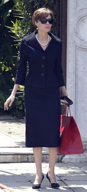 Angelina Jolie in black suit The Tourist
