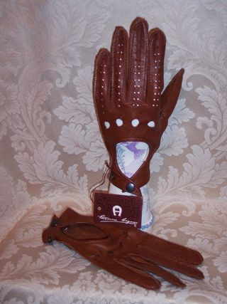 Vintage Etienne Aigner leather driving gloves (4)