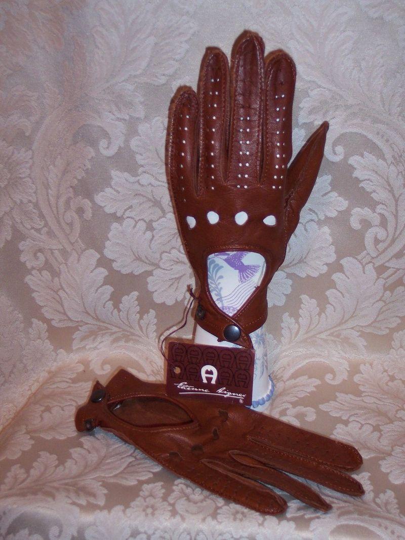 Vintage Etienne Aigner leather driving gloves (4)