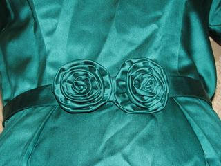 Vintage teal green silk satin dress flower detail (2)
