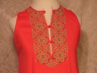Vintage 1960s Gossard Artemis Gypsy Red Embroidered nightgown & robe   (12)