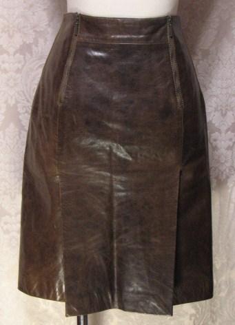 1980s Vintage Kenzo Jungle lambskin leather skirt (3)