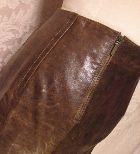 1980s Vintage Kenzo Jungle lambskin leather skirt (4)