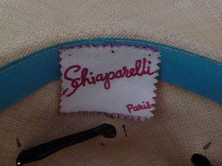 Schiaparelli vintage straw hat black patent leather trim