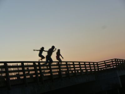 "My daughter on the far left with friends jumping off ""The Jaws Bridge"" on Martha's Vineyard"