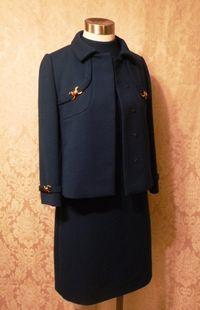 1960s vintage royal  navy blue dress suit Betty of Providence  (18)