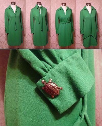 Vintage Anne Fogarty kelly green dress french cuff