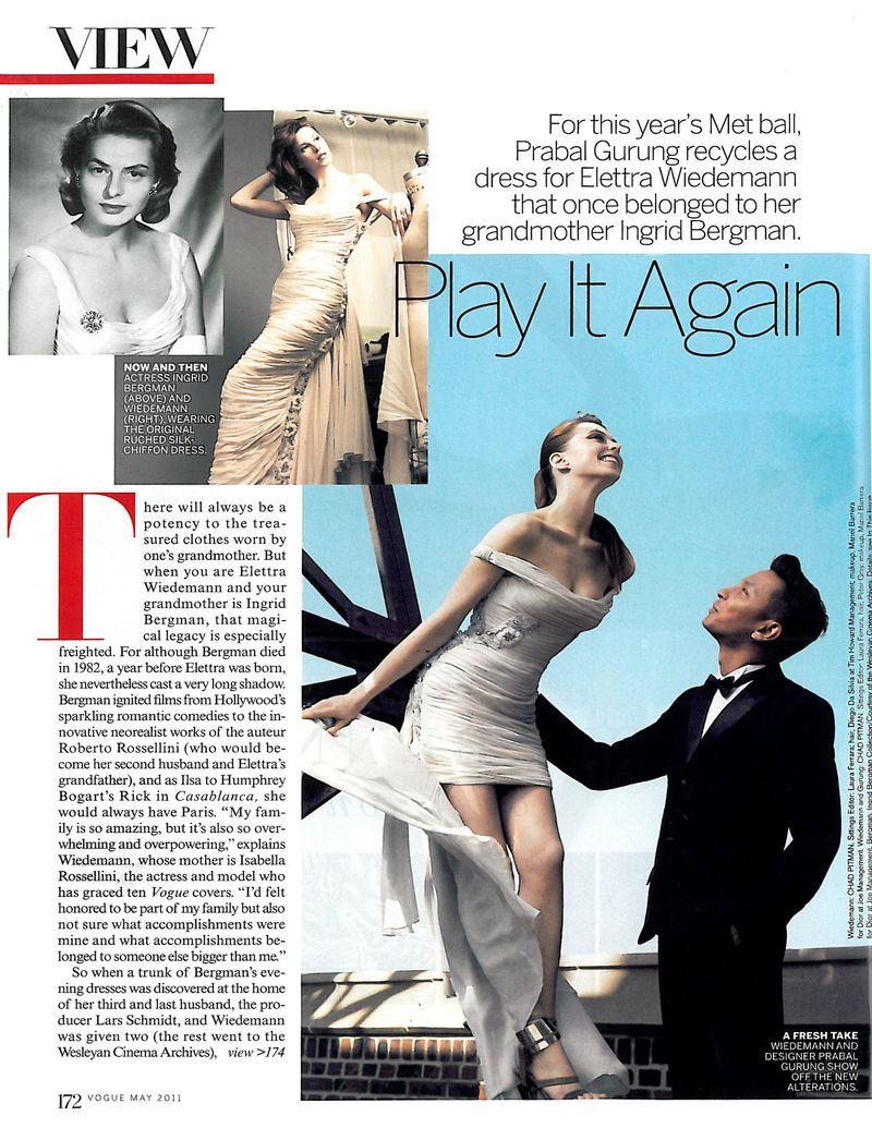 Elettra Wiedemann Prabal Gurung Ingrid Bergman gown Costume Institue Gala Met Ball 2011 Vogue May 2011