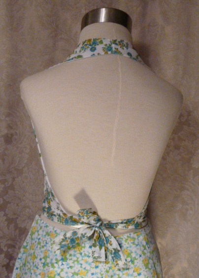 Vintage 1950s Blue  Yellow Floral Halter Top waist bow tie (6)
